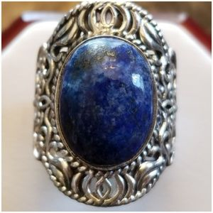 Jewelry - Detailed Filigree Lapis Lazuli Ring Size 7.25